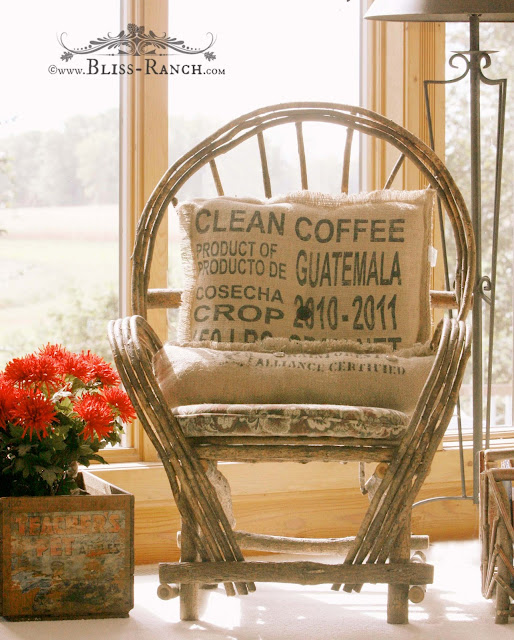 Willow Chair Coffee Sack Pillow, Bliss-Ranch.com