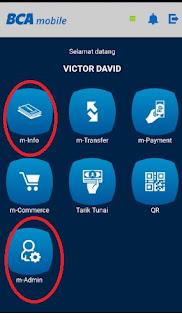Menu m-info dan m-admin pada BCA Mobile