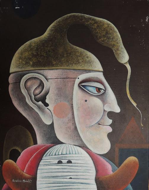 Josep Maria Rovira Brull Pintura surrealista retrato hombre mascara
