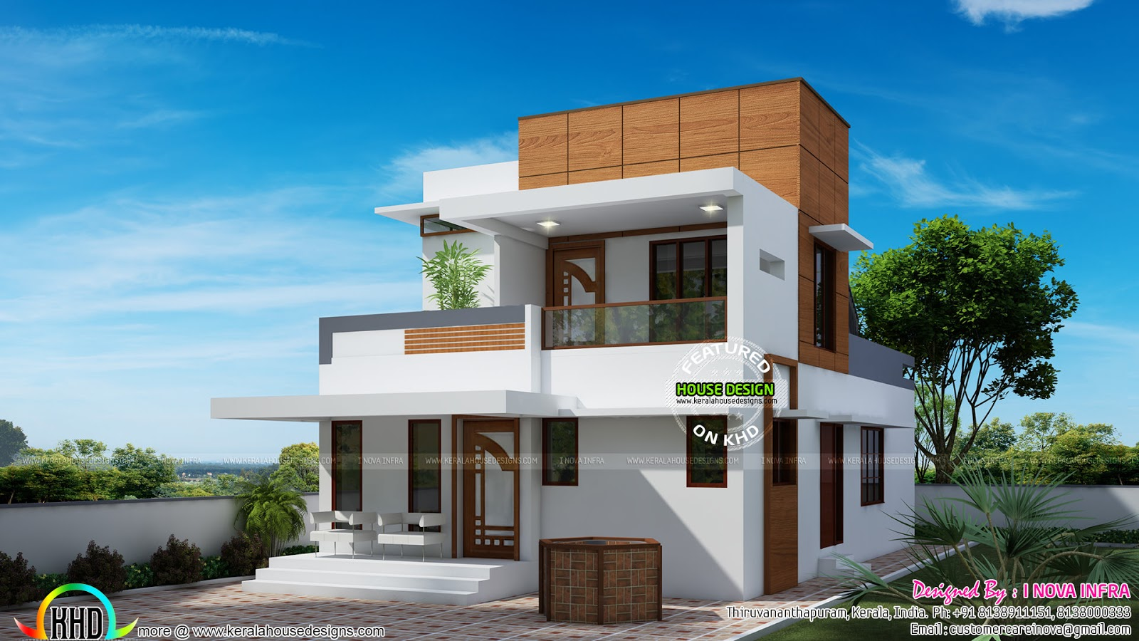 Small double floor modern house plan kerala home design for Modern house plans 1500 square feet