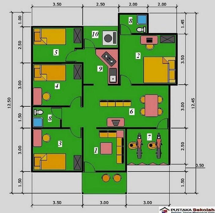denah rumah 4 kamar tidur 1 lantai modern