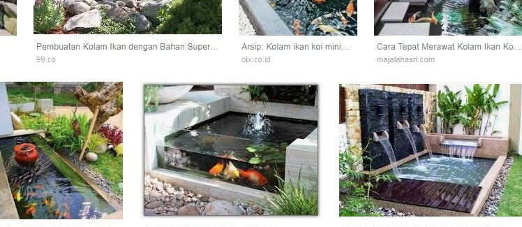 Gambar Kolam Ikan dari Batu Alam Minimalis Sederhana Depan Rumah