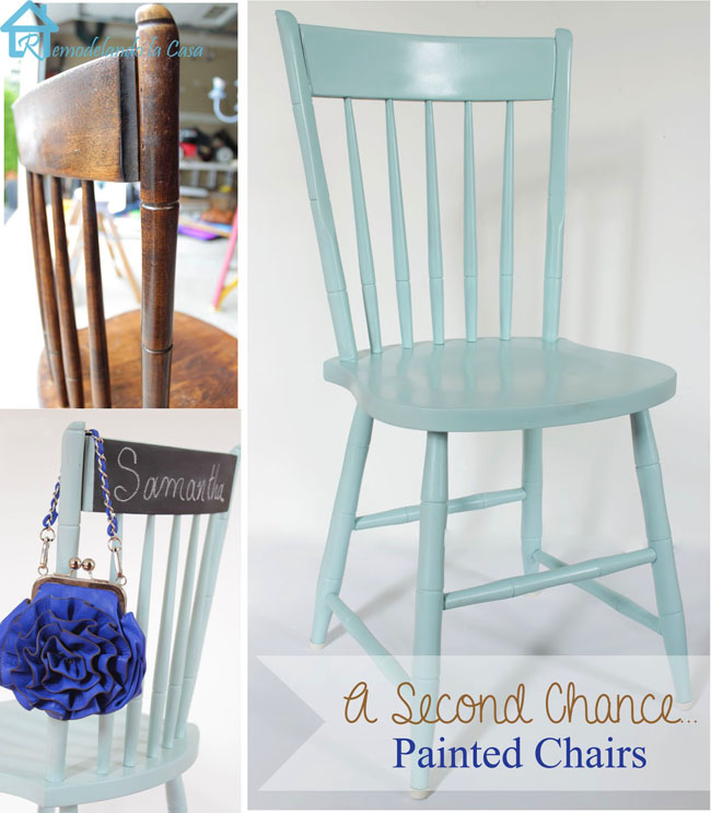 drab brown chairs got new life with teal spray paint.