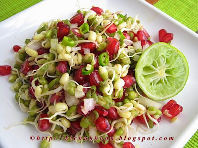 Moong sprout salad with pomegranate