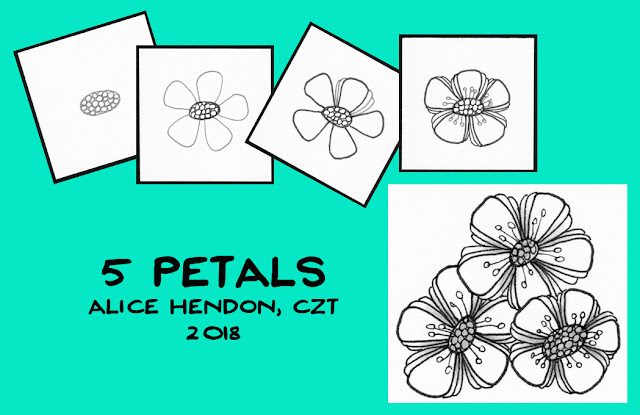 tangle patterns 5 Petals from Alice Hendon, Tangle Starts Planner