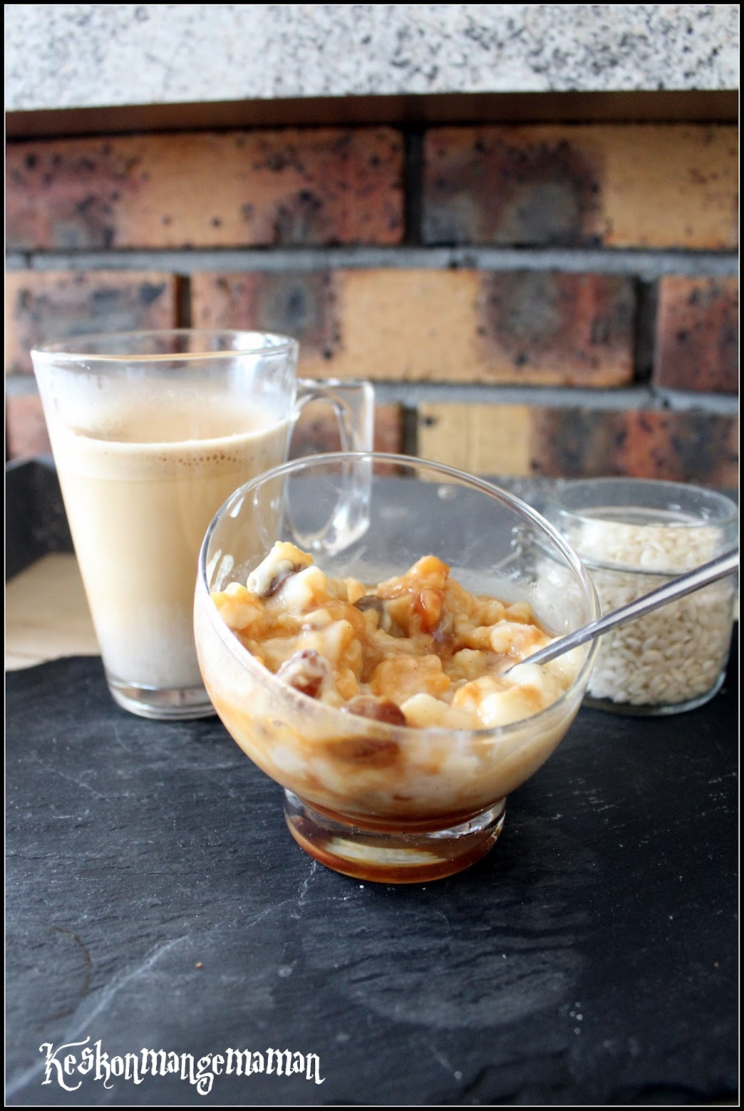 Keskonmangemaman escapade en cuisine avril verrines de riz au lait rhum raisin au caramel - Combien de gramme de riz par personne ...