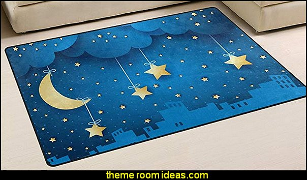 Moon and Skyline Polyester Area Rug  Nursery Rhyme themed nursery decorating - Moon stars twinkle twinkle baby nursery decorating ideas -  storybook bedrooms - counting sheep baby bedroom ideas Humpty Dumpty decor - Mother Goose - moon stars baby bedding - Moon and Stars themed nursery - Nursery Rhymes wall murals - celestial themed baby nursery - moon stars wall stickers - stars clouds wall decals - moon stars baby bedroom ideas - moon stars nursery decor - magical baby unicorns -