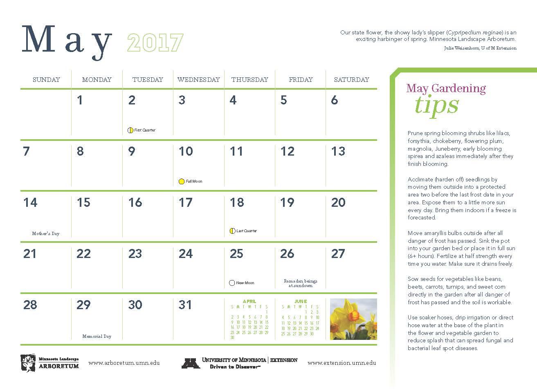 2017 minnesota gardening calendar available