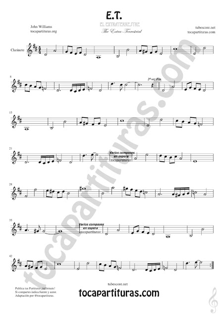 Clarinete Partitura de ET Sheet Music for Clarinet Music Score