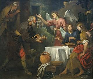 Nomes bíblicos estrangeiros masculinos com A - Imagem: Abraão e os três anjos - Giovanni de Ferrari