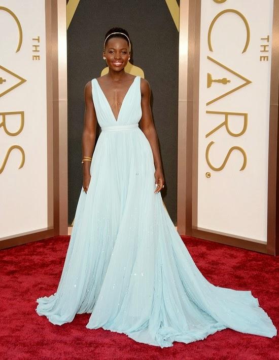 Lupita Nyong'o in Prada gown at 2014 Oscars