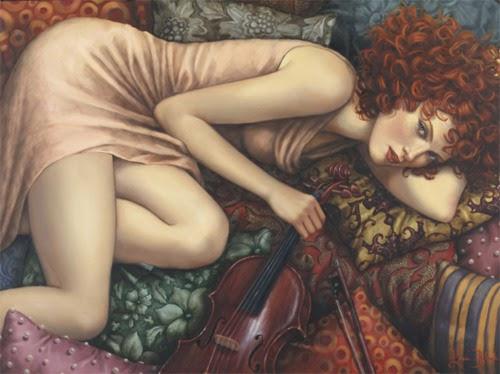 Violino Vermelho - Lauri Blank e suas pinturas cheias de emoções