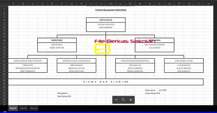 Contoh Format Struktur Organisasi Kelas XLS | File ...