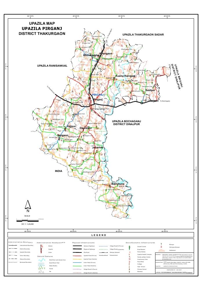 Pirganj Upazila Map Thakurgaon District Bangladesh