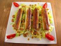 Corazones de palmito con vinagreta de frutos secos y anchoas