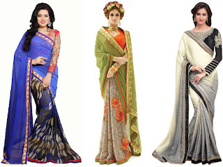 Saree a garment worn by women, consisting of several yards long strip of un-stitched single fabric / cloth wrapped around the body with one end draped over the head or over one shoulder. It is worn by women in southern Asia which can be wrapped in various styles. It is also known as a sari, Kache, kaccha-nivi or mundum-neryathum.