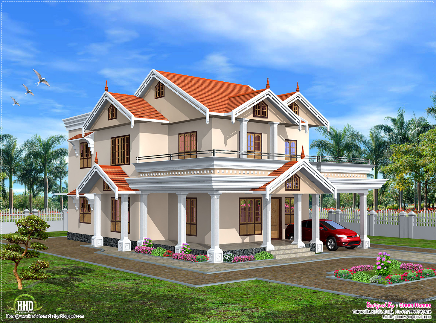 Cute kerala home design in 2750 kerala home for Home house