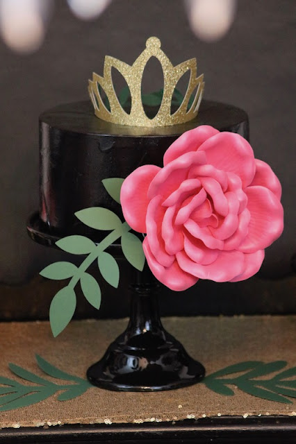 cake-paper-crown-tiara-leaves-large-flower-quinceanera