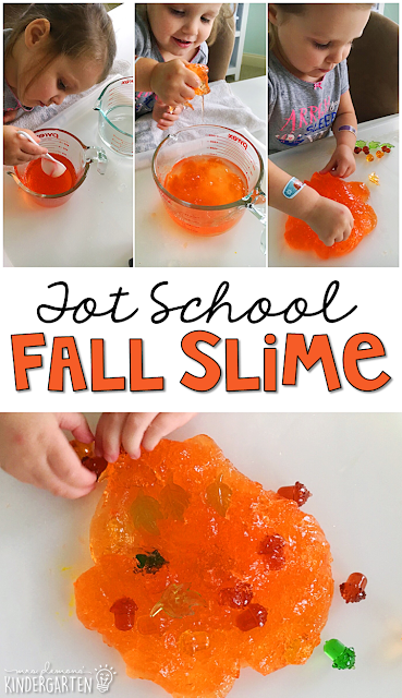 We LOVED making this fun fall slime. Great for tot school, preschool, or even kindergarten!