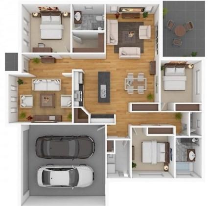 Gambar Denah Rumah 3 Kamar Minimalis dan Mendetail