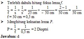 Menghitung fokus dan kekuatan lensa