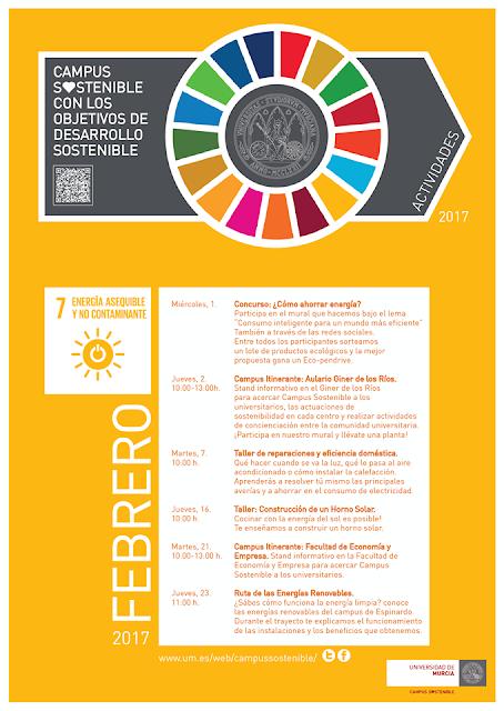 Actividades del Campus Sostenible Universidad de Murcia del mes de febrero.