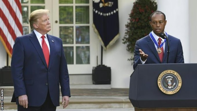 Donald Trump presents Tiger Woods with Presidential Medal of Freedom
