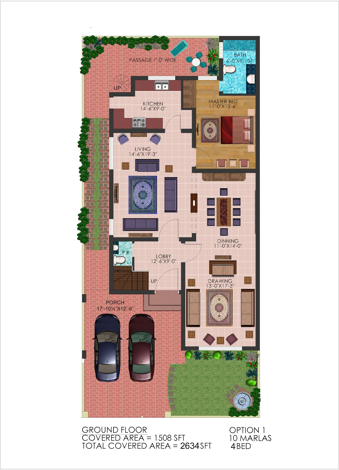 D Front Elevation Ground Floor : D front elevation marla plan