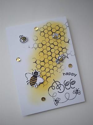 Wiosenna kartka z pszczołami