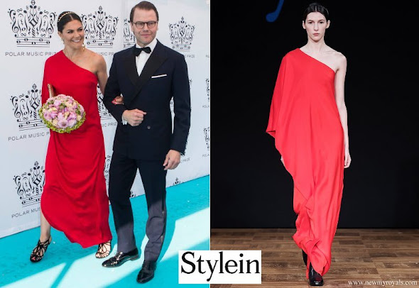 Crown Princess Victoria wore Stylein One Shoulder red gown from Autumn Winter 18 Collection