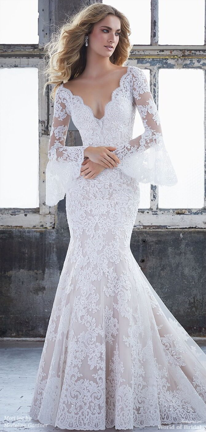 Mori lee by Madeline Gardner Spring 2018 Frosted Alençon Lace on Net Fit and Flare Bridal Gown