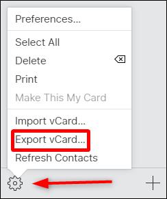 esporta vCard Salva il file