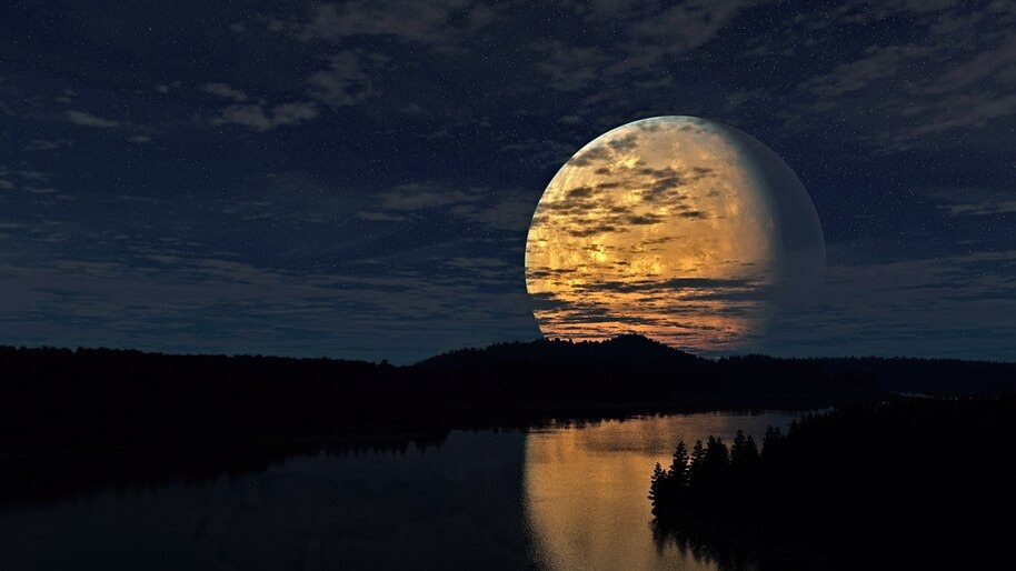 Big, Full Moon, Night, Sky, Scenery, 4K, #6.947