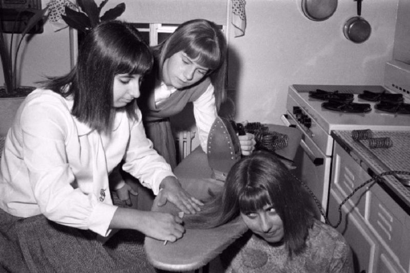 Image result for A popular method of hair straightening in the 1960s