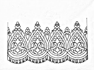 Pencil sketch border design drawing for hand work embroideey