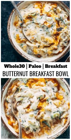 Savory Whole30 Butternut Chicken Breakfast Bowl