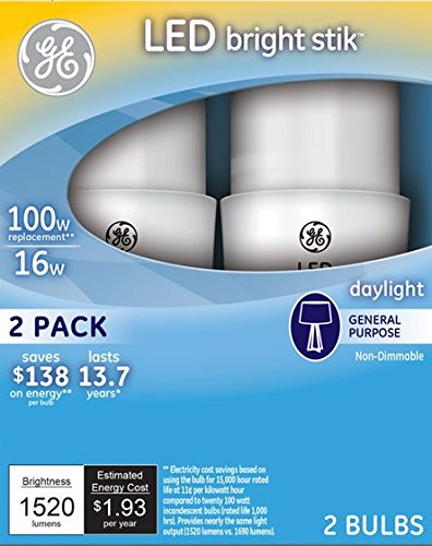 GE Lighting 32309 LED Bright Stik 16-watt (100-Watt Replacement), 1520-Lumen Light Bulb with Medium Base, Daylight, 2-Pack