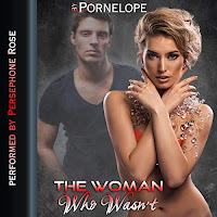 The Woman Who Wasn't audiobook cover. A handsome man in a fitted black tshirt stands behind a scantily clad, attractive, blonde woman with her arms across her chest.