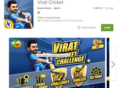 Virat Kohli  Mobile Game Most Sought After on Google Play