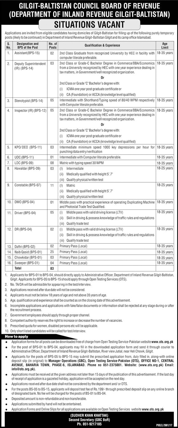 Jobs In Board Of Revenue Gilgt Baltistan Dec 2017