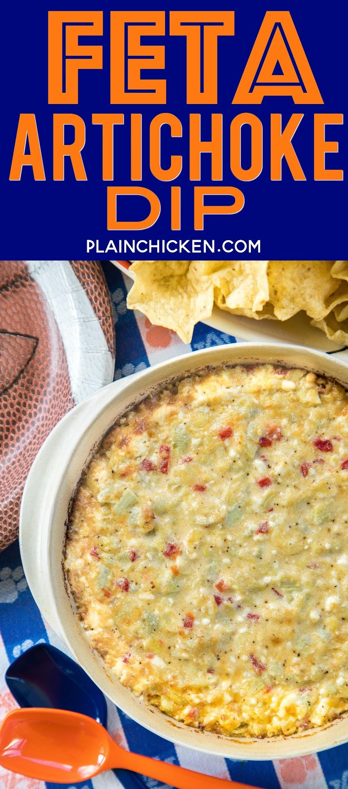 Feta Artichoke Dip - seriously delicious!!! SO simple and this tastes amazing! Only 6 ingredients - feta, artichokes, pimentos, garlic, parmesan and mayonnaise. Can mae ahead of time and refrigerate until ready to bake. Ready to eat in under 30 minutes. Always the first thing to go at parties!! #appetizer #superbowl #tailgating