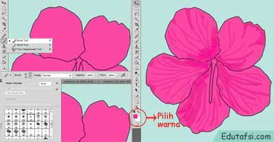 Cara menggambar bunga kembang sepatu di photoshop