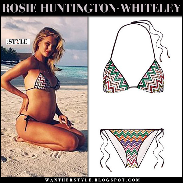 Rosie Huntington-Whiteley baby bump reveal in chevron zig zag bikini misonni what she wore pregnancy style
