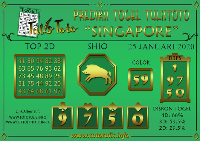 Prediksi Togel SINGAPORE TULISTOTO 25 JANUARI 2020