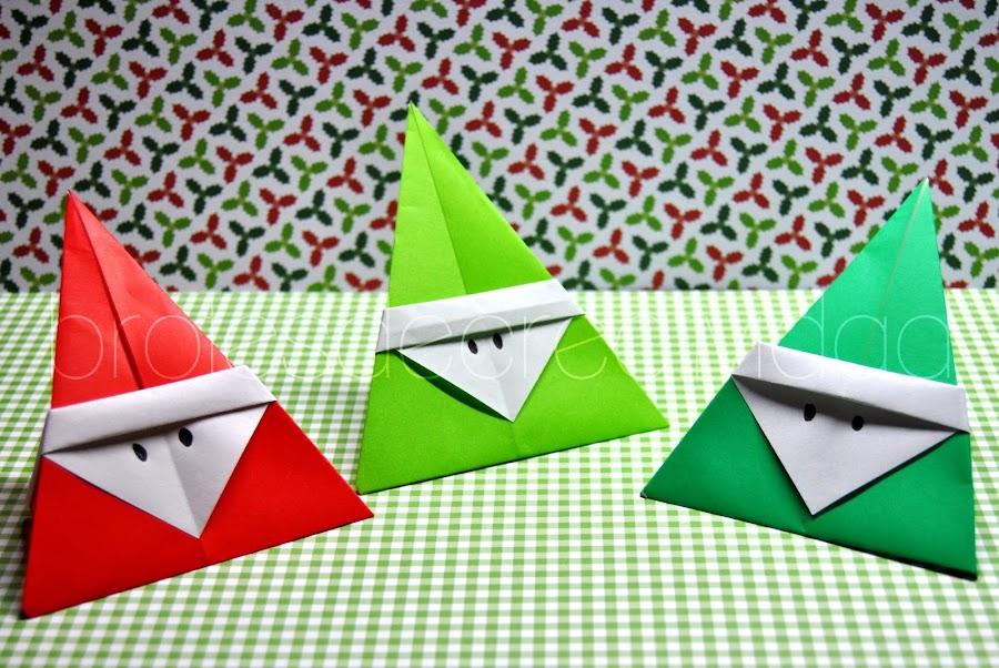 Papa Noel Santa Claus De Papel Manualidades - Origami-papa-noel