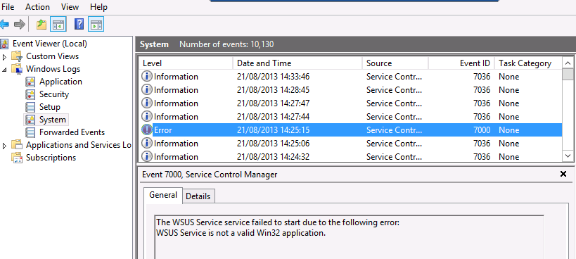 Gerry Hampson Device Management: WSUS Service will not start