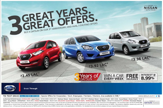 Nissan Datsun cars 3 great offers on 3rd year Anniversary | April 2017 summer discount offers