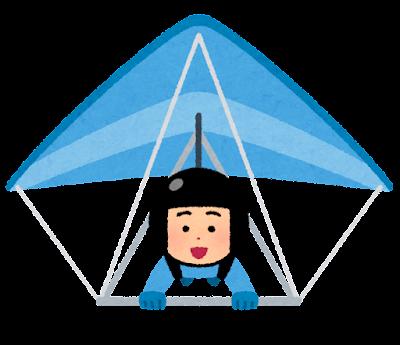 ハンググライダーで飛ぶ人のイラスト(男性)