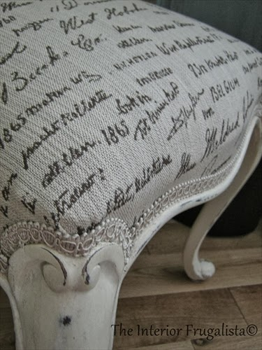 French Script Upholstered Antique Chair