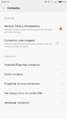 menu contactos android